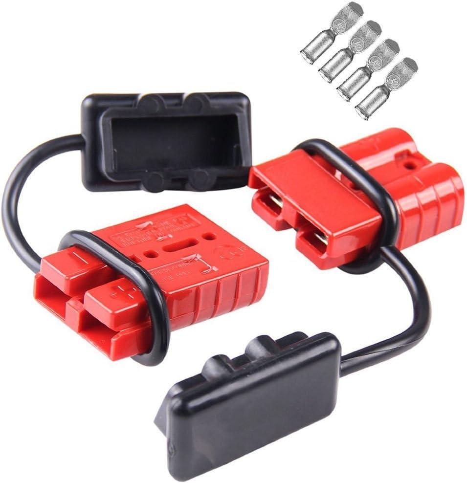 Tutoy 2Pcs 50A 600W Batería De Conexión Rápida/Desconexión del Mazo De Cables Conector del Kit De Remolque Cabrestante