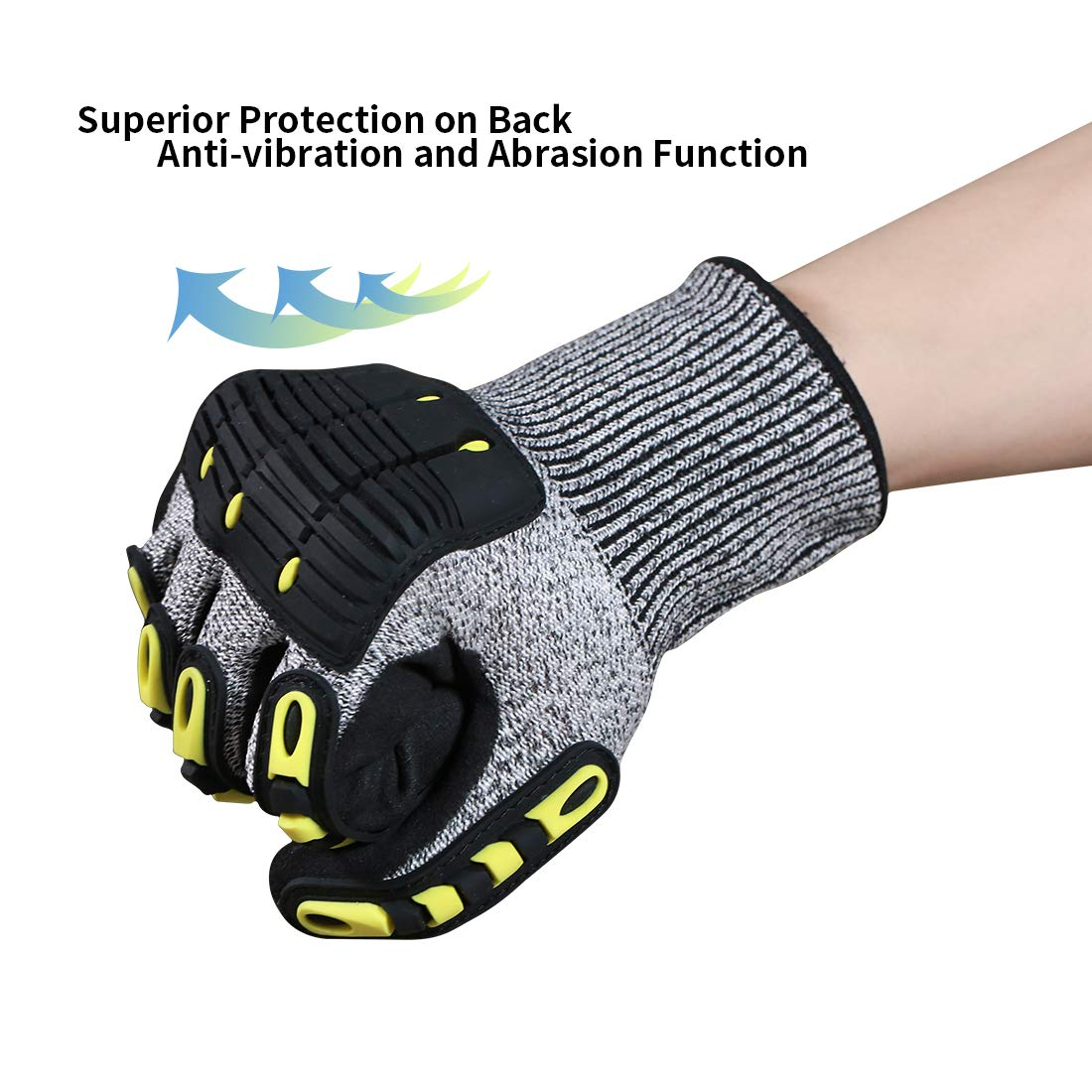 Impact Reducing Safety Gloves, Vibration & Abrasion & Cut Resistant, Ideal for Heavy Duty Safety Work like Mechanic, Garden Construction, Car Repairing Industrial, 1 Pair by KARRISM 2