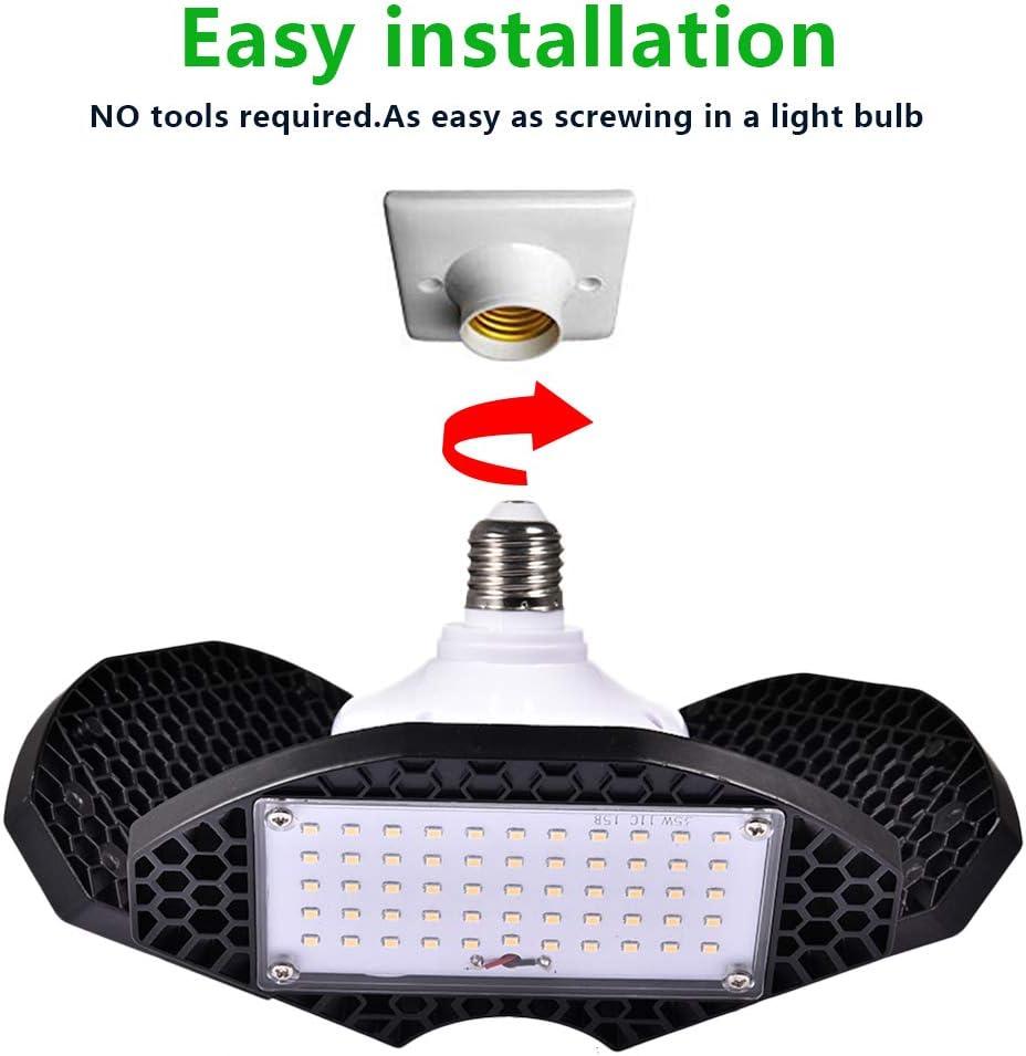 Keller WZTO 10000LM Garage Licht Lampen LED Werkstattlampe 3200K mit 3 verstellbaren Panels f/ür Garage Werkstatt,Lager 100W LED Garagenleuchte Scheune