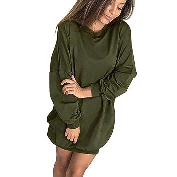 Damenkleider URSING Mode Damen O-Ausschnitt Kleid Sweatshirt Langarmshirt  Kapuzenpullover Herbst Kleidung Streetwear Longpullover lange 6ac2c331a2