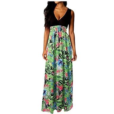 2ae1e4740e4fff QUINTRA Damen Boho Maxikleid Sommer Strand Langes Kleid  Cocktailparty-Blumenkleid …  Amazon.de  Bekleidung