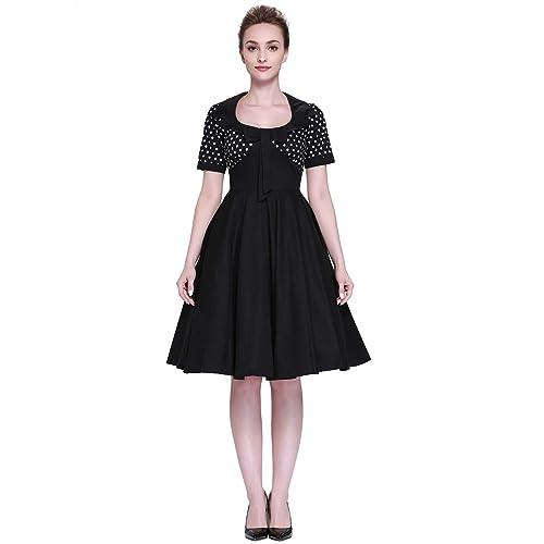 Heroecol Womens Vintage 1950s Dresses Square Neck Bow Short Sleeve 50s 60s Style Retro Swing Cotton Dress