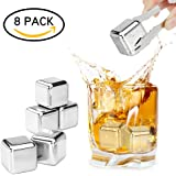 Whiskey Stones Stainless Steel Ice Cubes, Set of 8 Reusable Whisky Chilling Rocks with Tongs and Freezer Storage Tray - For Wine, Vodka, Liqueurs,Cocktail, Brandy