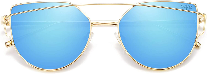 SOJOS Moda Occhiali da Sole Donna Specchiati Moderni Occhi di Gatto Vintage Doppio Ponte Montatura in Metallo SJ1001