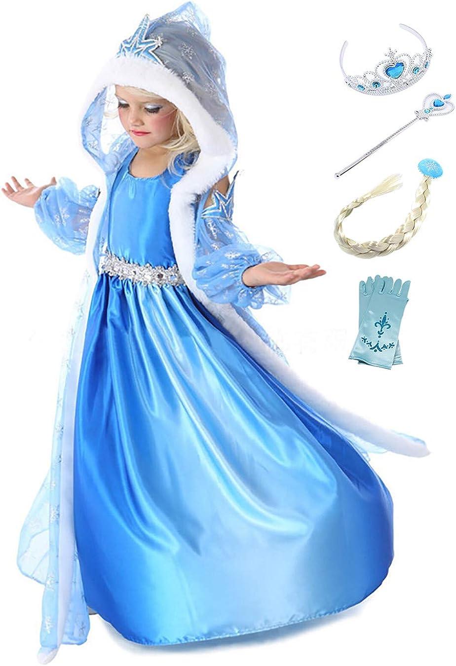 YOSICIL Disfraz de Princesa Frozen Elsa con Capa Traje de Princesa ...