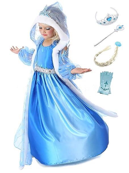 YOSICIL Disfraz de Princesa Frozen Elsa con Capa Traje de ...