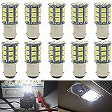 JAVR - Pack of 10-6500K White 1142 BA15D LED Bulbs 5050 27-SMD Replacement Lamps for 12V Interior RV Camper Trailer Lighting Boat Yard Light Brake Tail Bulbs