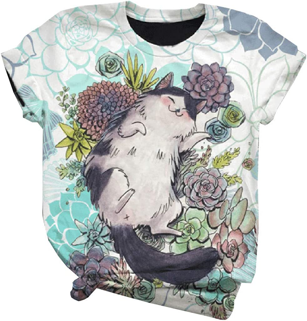 Camisetas Mujer Manga Corta Camisa Verano 2020 Estampado Animal en 3D Estilo Japon/és Encantador Elegante Regalo de Cumplea/ños Ni/ña Ropa Blusas y Camisas de Mujer Talla Grande