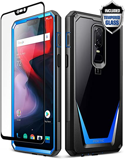 size 40 f1d0e aeec6 OnePlus 6 Case, Poetic Guardian [Scratch Resistant] [360 Degree Protection]  Full-Body Rugged Clear Bumper Case [with Tempered Glass] for OnePlus 6 - ...