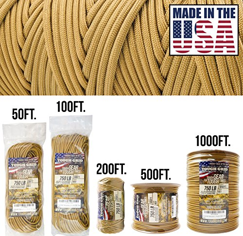 TOUGH-GRID 750lb Gold Paracord/Parachute Cord - Genuine Mil Spec Type IV 750lb Paracord Used by The US Military (MIl-C-5040-H) - 100% Nylon - Made in The USA. 500Ft. - Gold ()