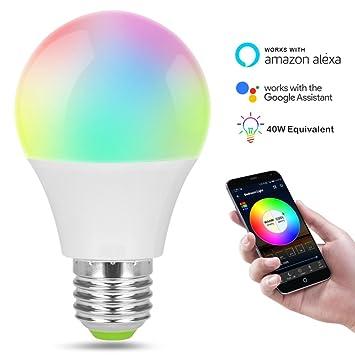 GUYINHUA WiFi Smart LED Bombilla de luz, controlado por Smartphone Sunrise Wake Up Light - Color cambiante bombilla de fiesta - Luz nocturna regulable: ...