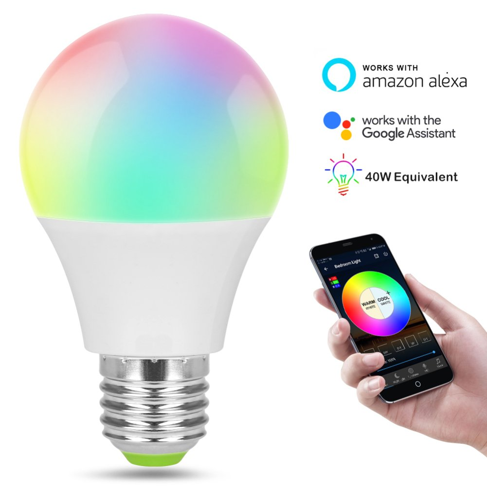 WiFi Smart Light Bulb Works with Alexa Google Home LED Color Changing Light Bulb with E12 to E27 Base Socket Adapter
