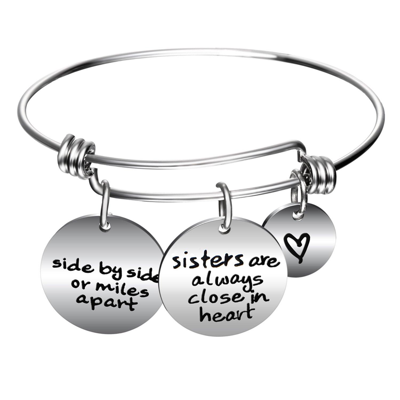 JJTZX Best Friend Bracelet Side by Side or Miles Apart Bracelet Long Distance Friendship Gift (Heart Charm Bracelet)