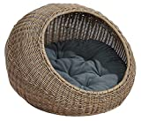 D+ Garden Wicker Cat Bed for Medium Indoor Cats - a Covered Cat Hideaway Hut of Rattan Houses Pets in Dome Basket, Washable