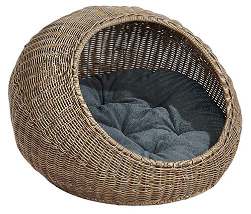D+ Garden Wicker Cat Bed for Medium Indoor Cats – a Covered Cat Hideaway Hut of Rattan Houses Pets in Dome Basket, Washable Review