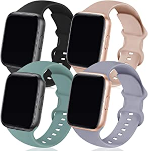 TRA 4 Pack Sport Silicone Band Compatible for Apple Watch Band 38mm 40mm 42mm 44mm, Soft Replacement Strap Wristband Accessory for iWatch Series SE/6/5/4/3/2/1,42mm/44mm M/L