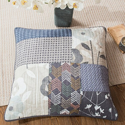 DaDa Bedding Patchwork Euro Sham - Quiet Country Farmhouse Pillow Cover - Multi Colorful Dark Navy Blue Grey Floral - 26