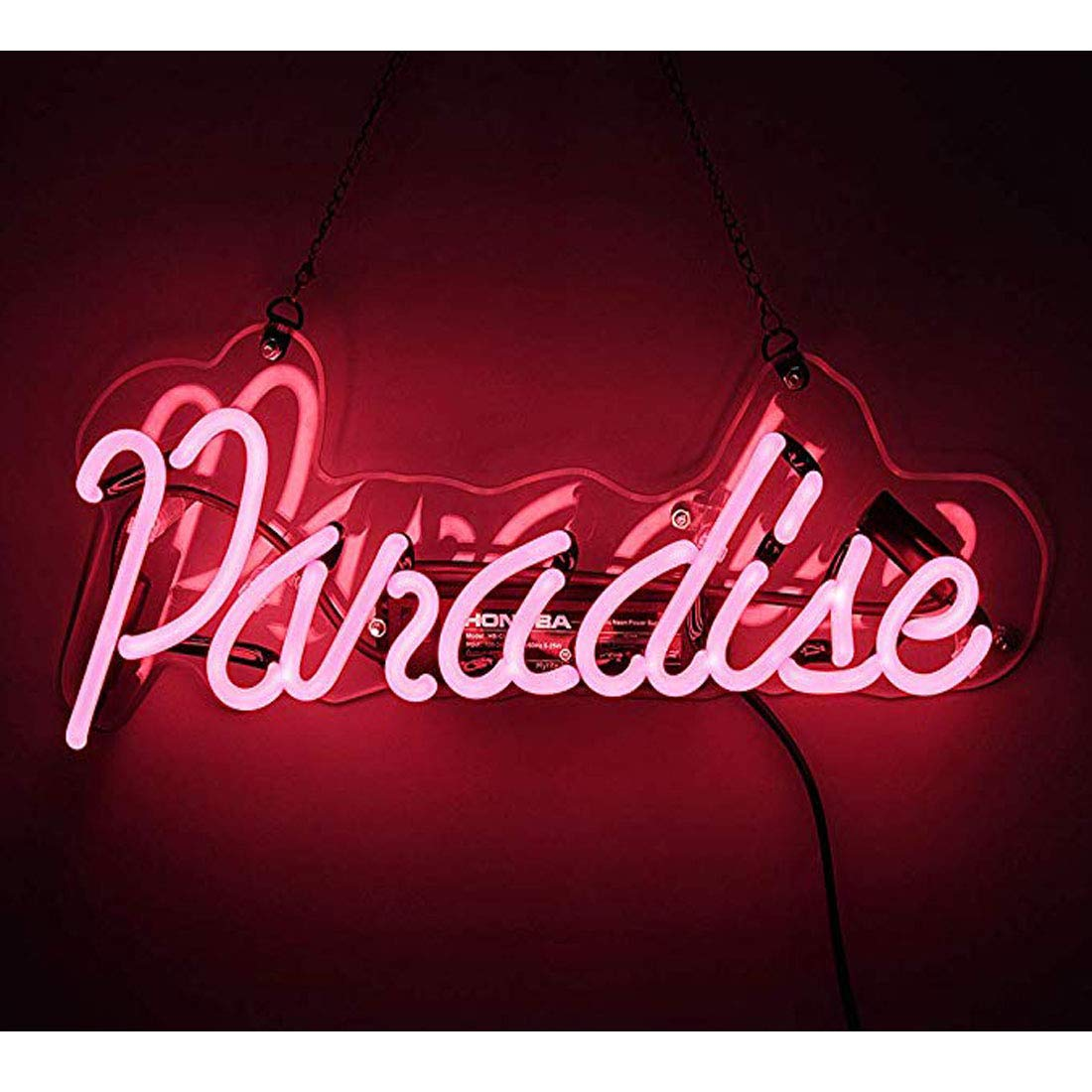 Neon Light Sign Paradise Neon Bar Sign Handmade Glass Neon Sign for Gift Pub Recreation Room Party Cafe Store Bedroom Wall Decor Lamp 14 x 6 inch Pink