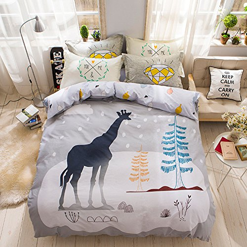 WarmGo Home Bedding Set for Adult Kids Giraffe Pattern Duvet Cover Set Full/Queen Size 4 Piece-1PC Duvet Cover+1PC Flat Sheet+2PCs Pillowcases by WarmGo