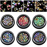 6 Wheels Mixed Nail Art Rhinestones Diamonds Crystals Beads Gems for DIY Decor (03#)