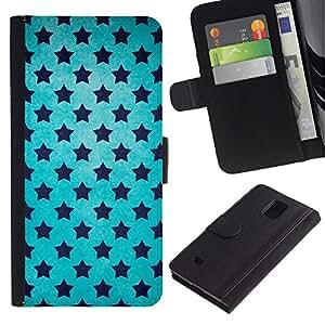 Planetar® Modelo colorido cuero carpeta tirón caso cubierta piel Holster Funda protección Para Samsung Galaxy Note 4 IV ( Estrellas Universo Wallpaper Azul Cielo Negro )