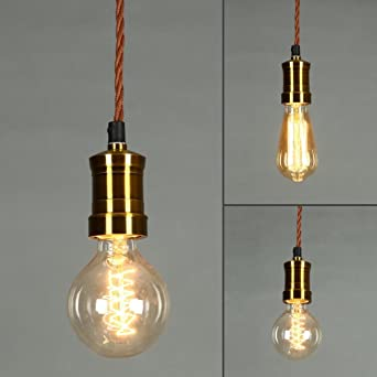 ONEPRE Vintage Hanging Pendant Light Retro Lighting Kit Brass Lamp Holder Ceiling