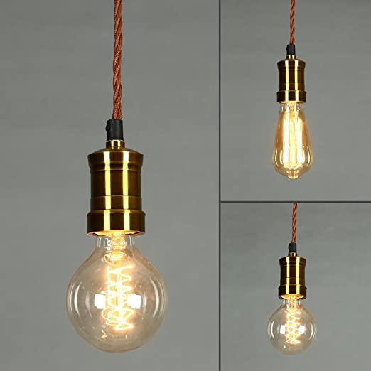Onepre vintage hanging pendant light retro pendant lighting kit onepre vintage hanging pendant light retro pendant lighting kit brass lamp holder ceiling mozeypictures Gallery