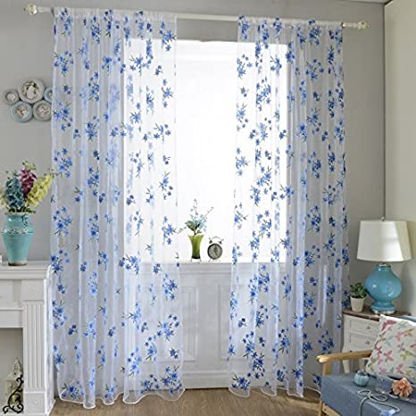 2Pcs Blue Tap Top Curtain Window Living Room Drapes Floral Curtains Panel