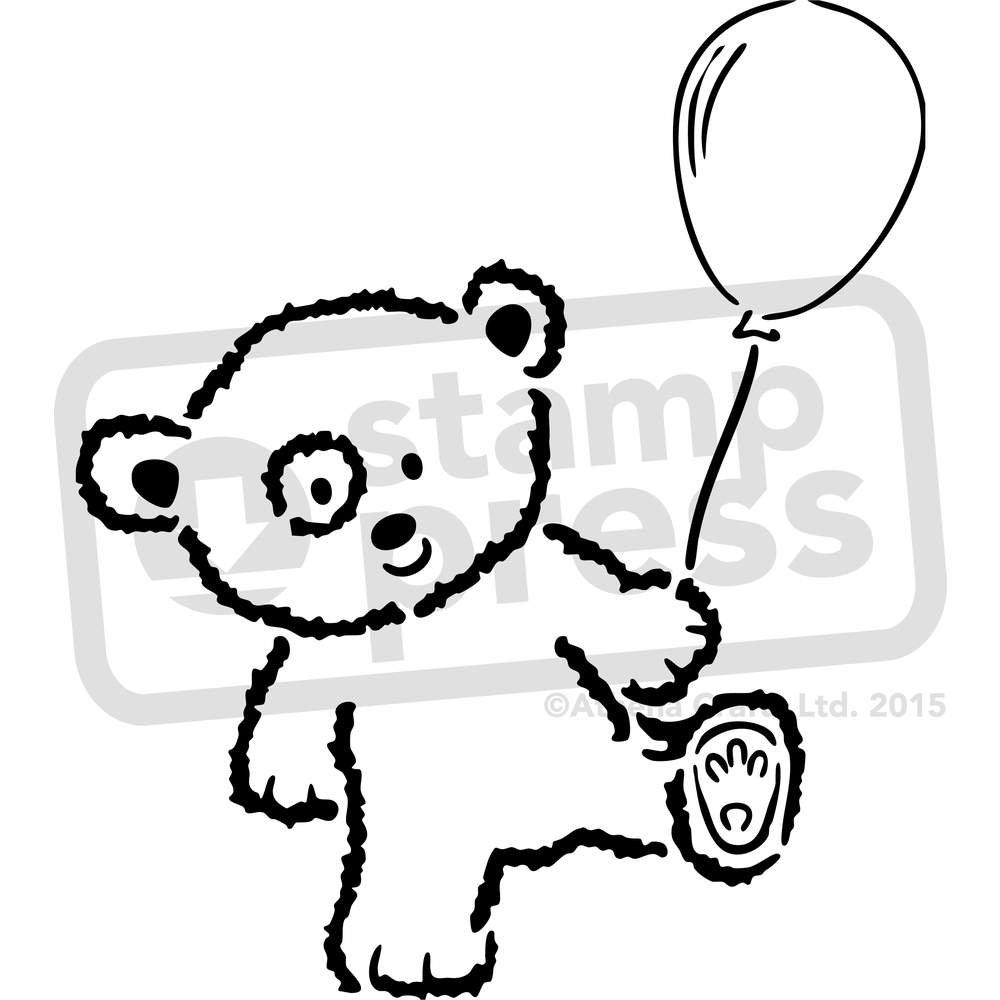 WS00016518 Vorlage Gro/ß A2 B/är mit Ballon Wandschablone