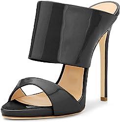 0645435319fff FSJ Women Versatile Open Toe Mule Shoes Feminine Slingback Stiletto Sandals Size  4-15 US