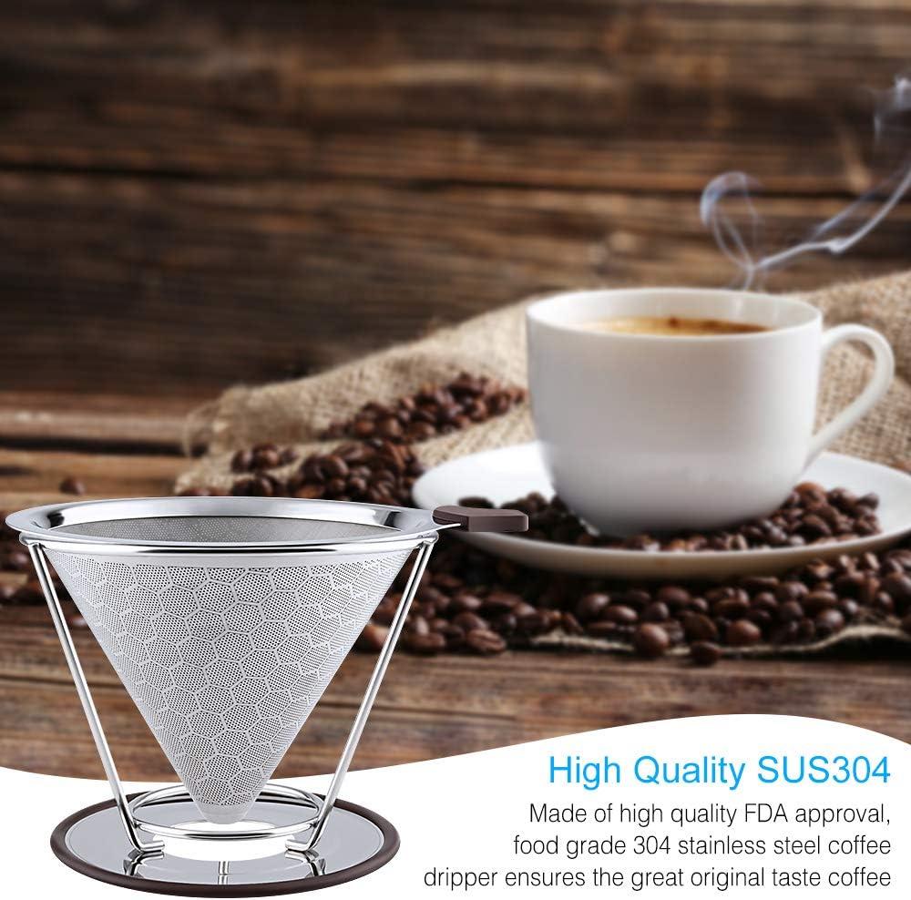 mit separatem St/änder und B/ürste papierlos und wiederverwendbar 800 Mesh Kaffeebereiter aus Edelstahl OTHWAY Kaffeefilter Wabenmuster