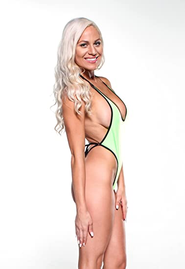 a11b51c87b609 Solid Neon Green Sexy Monokini One Piece Micro GString Thong Bikini DARE w  Black at Amazon Women's Clothing store: