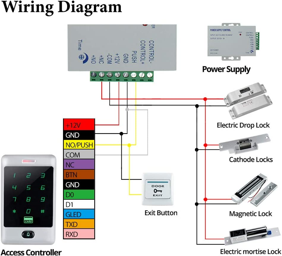 KDL wasserdichte Zutrittskontrolle Tastatur Metall RFID T/ür Controller Wiegand 26//34 N/ähe 125 kHz Kartenleser IP65 Wasserdicht f/ür Home Security System Self-Waterproof
