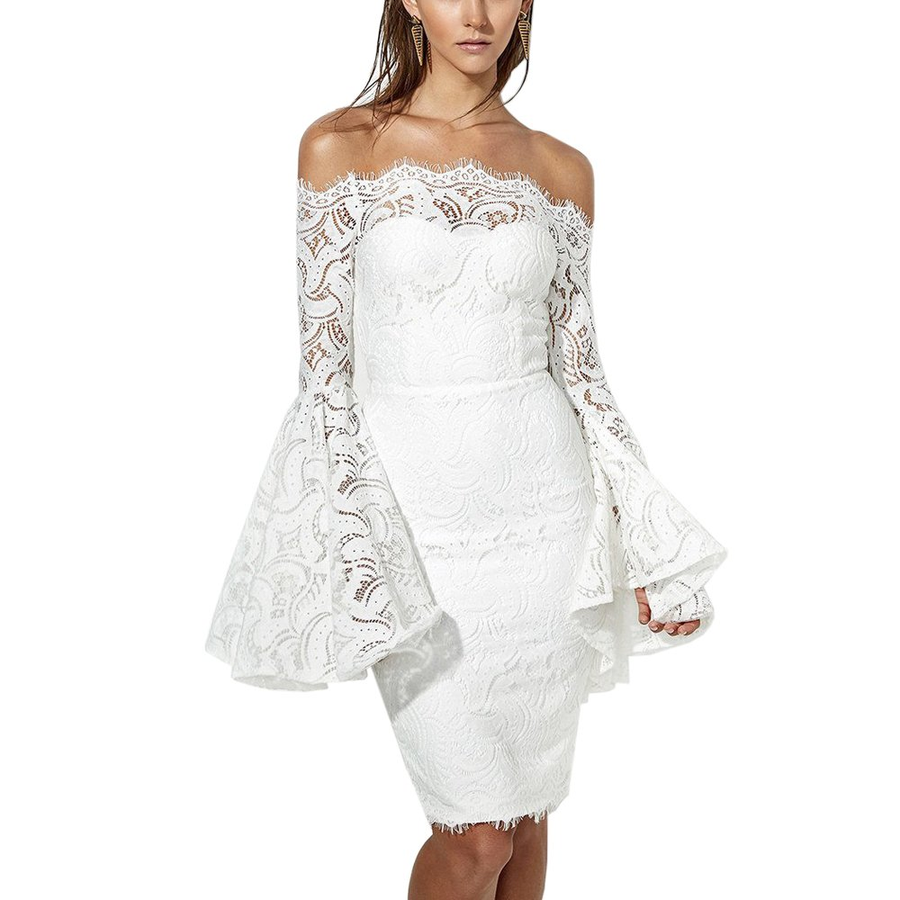 Lrud Women's Elegant Off Shoulder Floral Lace Cocktail Evening Party Bodycon Dress White L by Lrud
