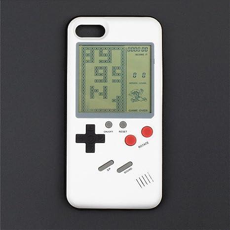ParaCity Funny Gameboy - Carcasa de silicona para iPhone con 10 juegos de tetris, protector de pantalla para matar el tiempo y aliviar el estrés, ...