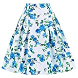 Paul Jones®Dress Women Floral Skirts Vintage Flared Style A-line Skirts CL8925 (X-Large, C-1)