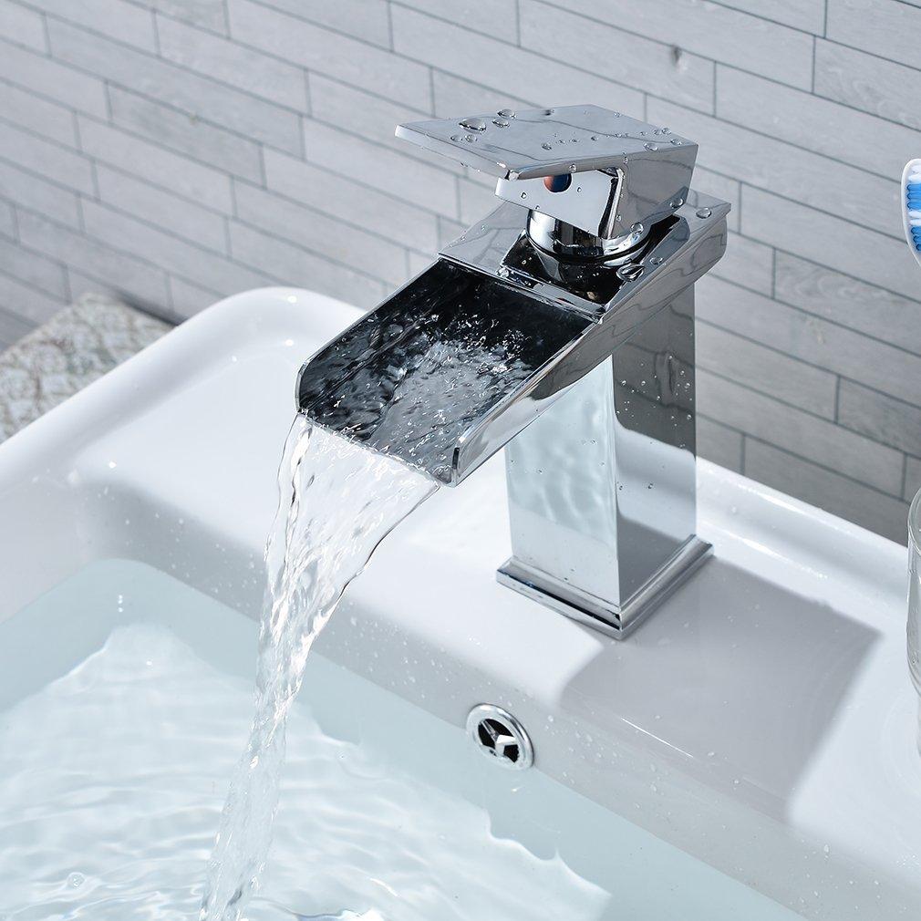 Waterfall bathroom sink - Leshp Waterfall Bathroom Basin Mixer Tap Chrome Monobloc Sink Taps Amazon Co Uk Kitchen Home