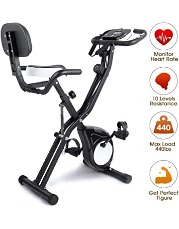EVOLAND Magnetic Foldable Exercise Bike with Pulse Rate Sensor LCD Display and 8-Level Adjustable Resistance, 440LBS Max Load, Home Trainer Fitness Bike