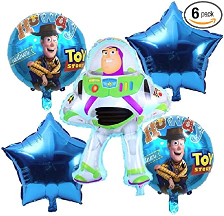 Toy Story Birthday Party Balloons - 6 Piece Kids Balloon Decorations - Buzz Lightyear Woody 2 Round 2 Stars - Ribbon Included Combined Brands Bundle ...
