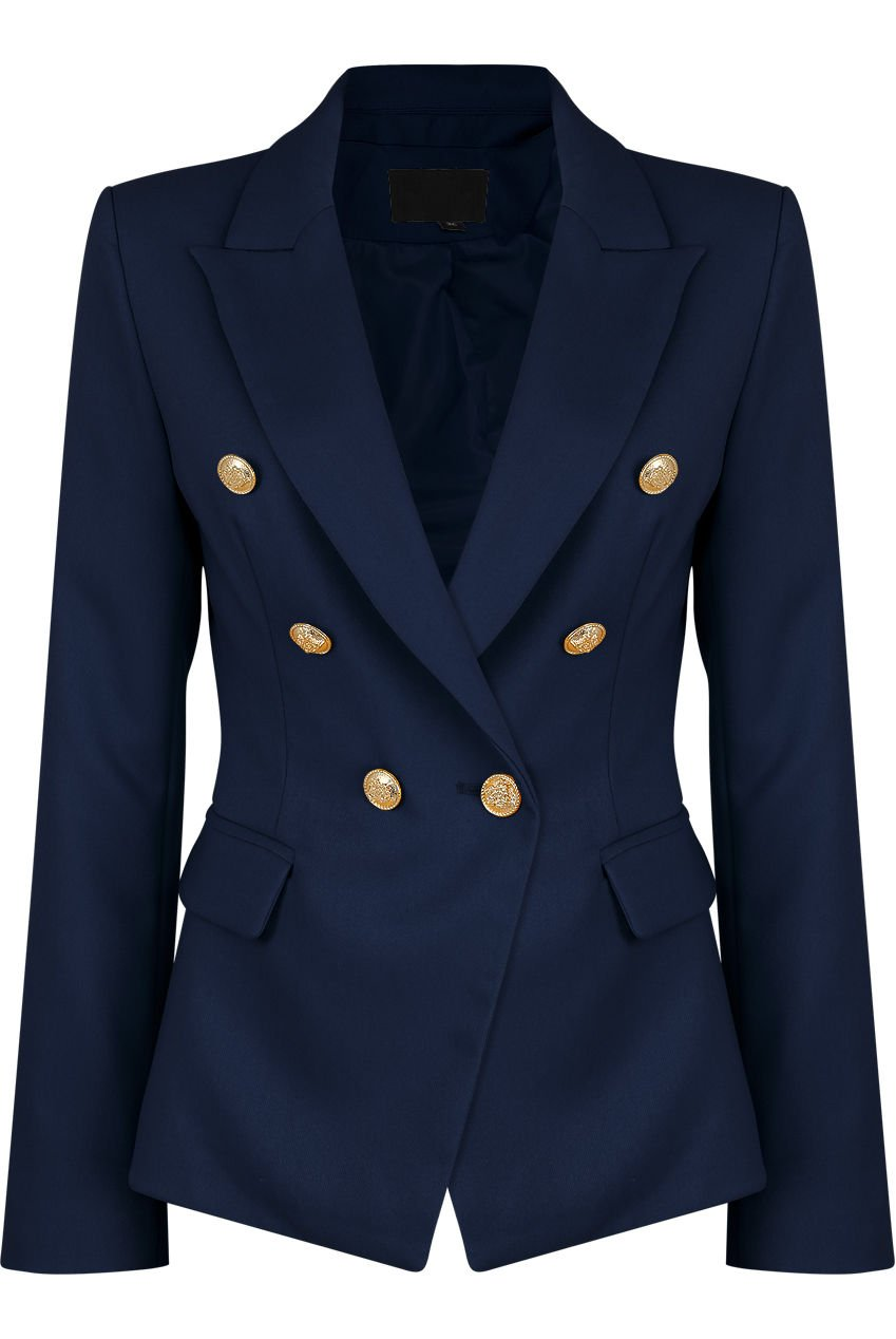 VIEMA MODA Womens Double Breasted Military Style Blazer Ladies Coat Jacket (US10, Navy)