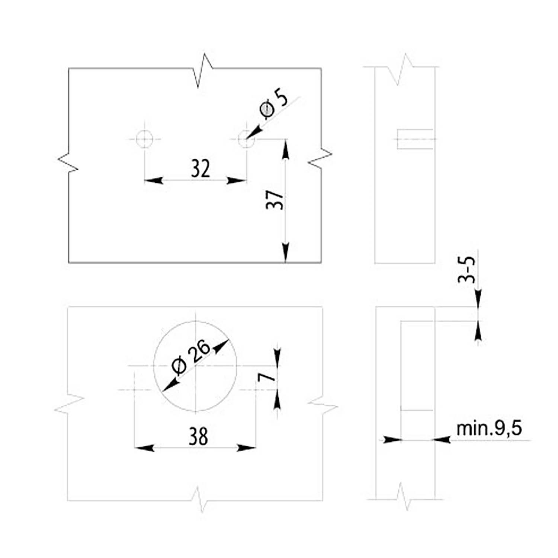 10 X Mprofi MT/® Conjunto de Mini bisagras para puertas de armario de cocina 26mm