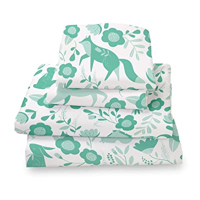 Where The Polka Dots Roam Queen Size Bed Sheets Seafoam Green Folktale Print 4 Piece Set │ Unisex, Flexible Microfiber, Durable, Wrinkle-Resistant Bedding │ Boys, Girls, Baby, Kids, Toddler, Teen: Home & Kitchen