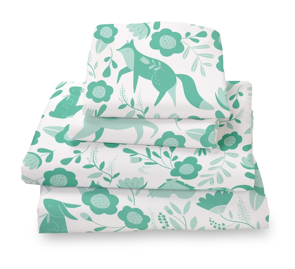 Where The Polka Dots Roam Seafoam Green Folktale Forest Animals Full Size Sheet Set, Soft Sheets for Deep Mattresses, 4 Pieces Full Size Set in White and Teal