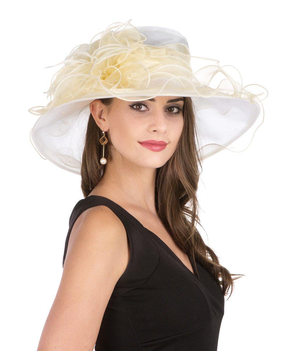 SAFERIN Lady Tea Party Kentucky Derby Church Wedding Dress Church Hat Bridal Shower (2867-Beige Champagne)