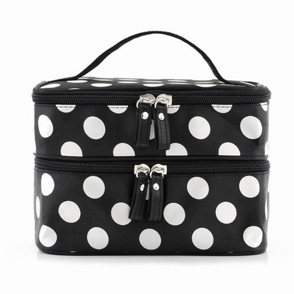 dc48114acd87 Amazon.com   ReNext Beauty Case Makeup Bag Double Layer Cosmetic Bag Black  With White Polka Dots   Beauty