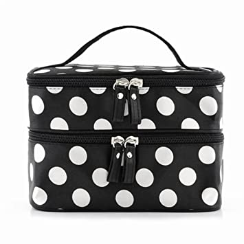 9f5768eb6570 Amazon.com   ReNext Beauty Case Makeup Bag Double Layer Cosmetic Bag Black  With White Polka Dots   Beauty