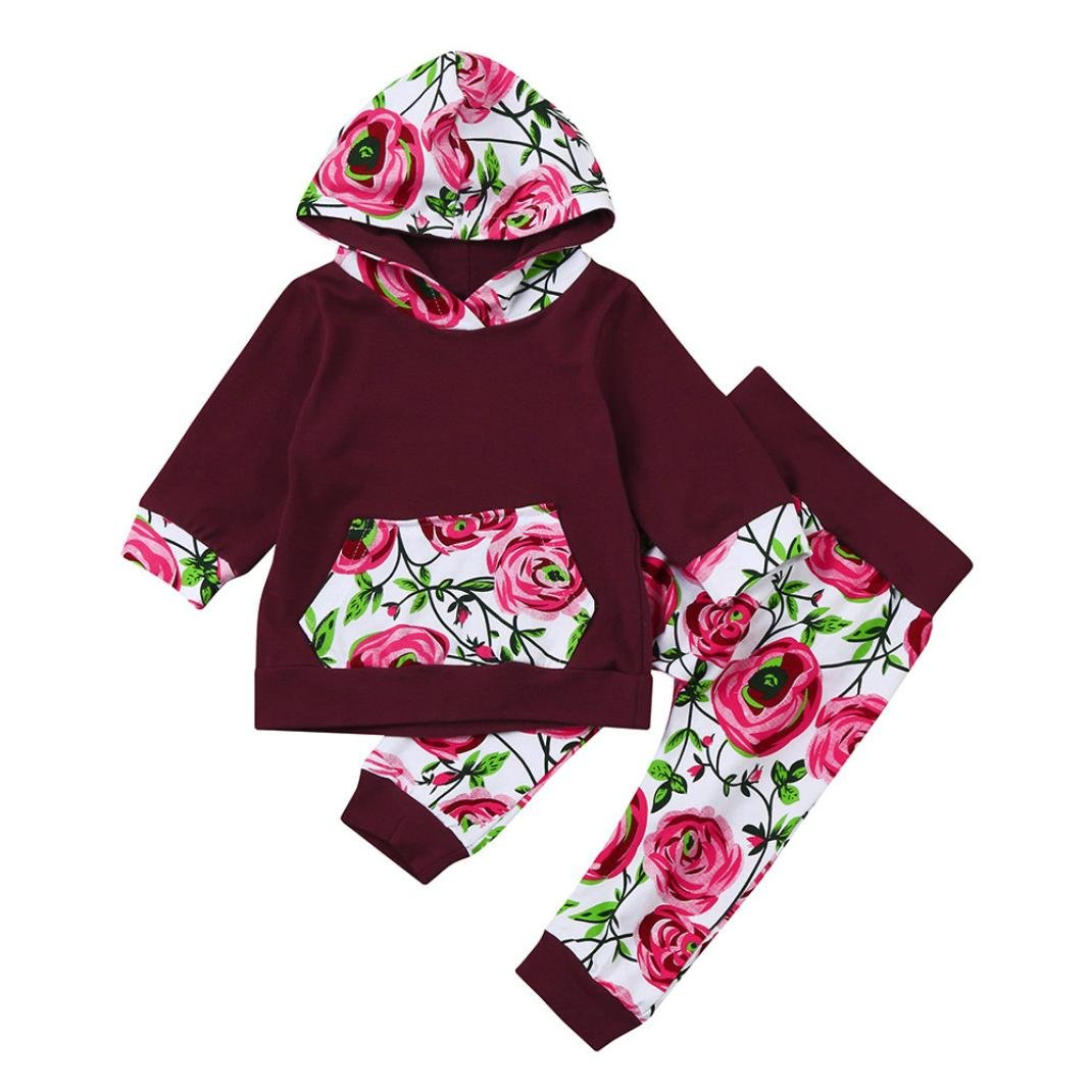 Jchen(TM) 2PCS Newborn Toddler Infant Baby Girls Floral Hoodie Long Sleeve Tops+Pants Outfits Clothes Set for 0-24 Months (Age: 12-18 Months)