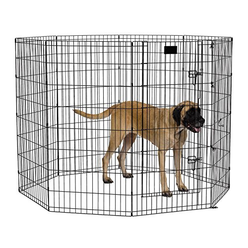 MidWest Foldable Metal Exercise Pen/Pet Playpen, Black w/door, 24″ W x 48″ H