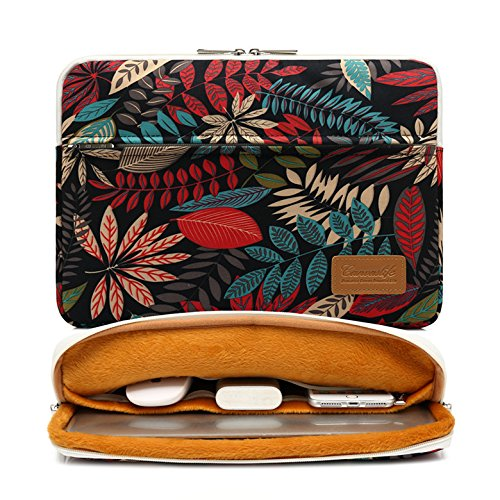 Canvaslife Black Leaf Pattern 360 Degree Protective 13 inch Canvas Laptop Sleeve with Pocket 13 inch 13.3 inch Laptop case 13 case 13 Sleeve