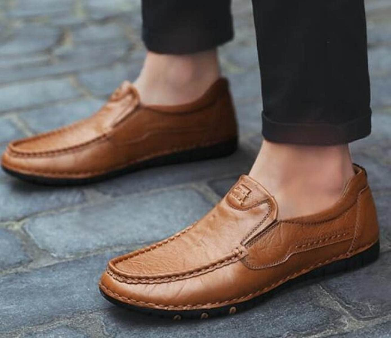 Herrenschuhe Bequem Füße Freizeitschuhe Handgefertigte Herrenschuhe Leder Freizeitschuhe Füße Fahrschuhe Braun f63ce9